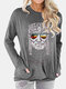Figure Print O-neck Long Sleeve Plus Size T-shirt With Pockets - Grey
