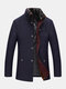 Mens Single Breasted Faux Fur Collar Thick Casual Woolen Overcoats - Navy