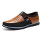 Large Size Men Leather Splicing Non-slip Metal Buckle Slip On Soft Casual Shoes