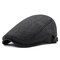 Mens Winter Thicken Warm Woolen Beret Hat Adjustable Casual Solid Black Grey Forward Hats