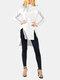 Asymmetrical Split Hem High-neck Casual Plus Size Blouse - White