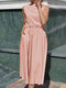 Solid Color Sleeveless Plus Size Dress for Women - Pink
