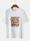 Mens Sweet Pear Graphic Print Solid Color Loose O-Neck T-Shirts - White