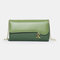 Women PU Chains  6.3 Inch Phone Solid Letter Crossbody Bag - Green