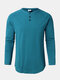 Mens Cotton Solid Color Button Round Neck Long Sleeve Basic T-Shirt - Blue