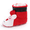 Baby Toddler Shoes Cute Santa Claus Round Toe Warm Soft Christmas Snow Boots - Red