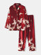 Men Comfortable Faux Silk Flying Crane Printing Lapel Two Pieces Long Sleeve Pajamas Sets - Red