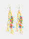 Bohemia Handmade Woven Women Earrings Pearl Turquoise Tassel Pendant Earrings - Yellow