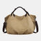 Women Canvas Solid Large Capacity Handbag Crossbody Bag - Beige