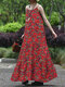 Holiday Floral Print Strap Swing Maxi Dress for Women - Red