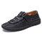 Menico Men Woven Style Breathable Soft Non Slip Microfiber Leather Shoes - Black