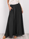 Casual Solid Color Elastic Waist Loose Plus Size Skirt with Pockets - Black
