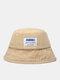 Unisex Denim Letters Korean Labeling Sun Protection Bucket Hat - Khaki