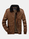 Mens Push Lined Snap Button Lapel Warm Washed PU Jackets With Pocket - Brown