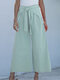 Solid Color Lace Up Wide-legged Elastic Waist Pants - Light Green