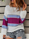 Contrast Color Long Sleeve Stitch O-neck Women Sweater - White