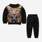 Boy's 3D Tiger Print Long-sleeved Casual Clothing Set For 2-8Y - Black