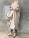 Solid Color Casual Long Sleeve Cotton Shirt Dress - Pink