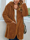 Fleece Solid Color Loose Plus Size Hooded Coat with Pockets - Brown