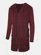 Mens Single-Breasted Thick Mid-Length Hooded Cardigan Sweater With Pocket - Wine Red