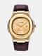 Alloy PU Leather Belt Business Calendar Quartz Watch - Gold