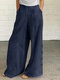 Solid Color Button Casual Pants With Pocket For Women - Navy
