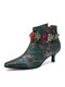 Socofy Women Retro Leather Floral Buckle Design Metallic Luster Pointed Toe Side-zip Low Cone Heel Comfy Boots - Dark Green