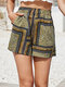 Ethnic Pattern Print Elastic Waist Casual Shorts with Pocket - Yellow