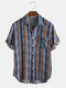 Mens Casual Cotton Striped Patch Pocket Short Sleeve Shirts - Blue