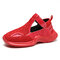 Women's Large Size Breathable Wearable Silod Color Hollow Sport Sandals - Red