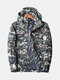 Mens Camo Printed Windproof Breathable Zip Up Casual Hooded Outdoor Jacket - Army Green