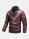 Mens Double Dreasted Zipper PU Leather Thicken Winter Warm Biker Jacket - Wine Red