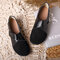Splicing Leather Hook Loop Soft Sole Casual Flat Loafers