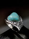Vintage Heart-Shaped Flower Ring Turquoise Mount Women Jewlery Gift - Silver