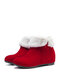 Women Solid Color Side Zipper Warm Fluff Flanging Snow Boots - Red