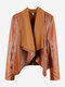Solid Color Inregular Notch Collar Faux Leather Jackets - Bronze