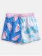 Mens Watermelon Print Patchwork Board Shorts Drawstring Pocket Swim Trunks With Mesh Liner - Blue