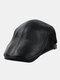 Men Genuine Leather Casual Retro Flat Cap Fashion Forward Hat Beret Hat - Black