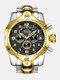 Large Dial Men Business Watch Multifunctional Luminous Calendar Waterproof Quartz Watch - Black Dial Between Gold Band