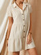 Solid Color Lapel Button Short Sleeve Casual Dress For Women - Apricot