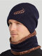 Men 2PCS Embroidered Thick Winter Outdoor Neck Protection Headgear Scarf Knitted Hat Beanie - Navy