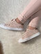 Large Size Women Casual Slip On Splicing Canvas Skate Shoes - Pink