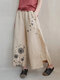 Wide Leg Flower Butterfly Print Casual Pants For Women - Apricot