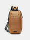 Casual Oxford Letter Front Password Lock Design Crossbody Chest Bag - Brown
