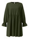 Solid Color O-neck Lantern Sleeve Plus Size Pleated Dress for Women - Army Green