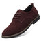 Men British Style Suede Oxfords Lace Up Business Formal Casual Shoes - Brown