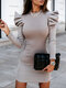 Casual Solid Color Puff Sleeve Plus Size Dress for Women - Grey