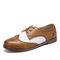 LOSTISY Color Block Lace Up Casual Women Brogue Shoes - Brown