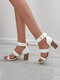 Women Brief Casual Large Size Solid Color Hard-wearing Metal Design Heeled Sandals - White