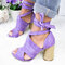 Large Size Women Casual Solid Color Peep Toe Lace Up High Heel Sandals - Purple